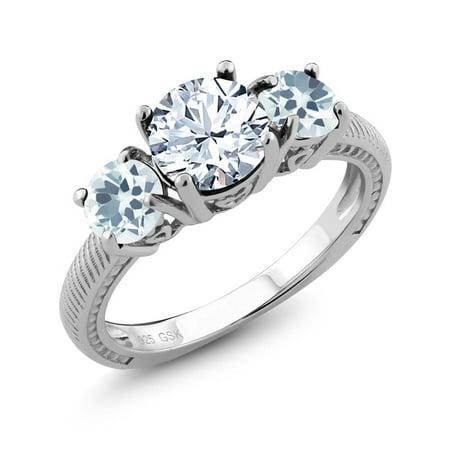 2.20 Ct Round White Topaz Sky Blue Aquamarine 925 Sterling Silver 3 Stone Ring