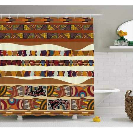 Tribal Shower Curtain Traditional African Folk With Cultural Featured Trippy Icons Boho Abstract Design