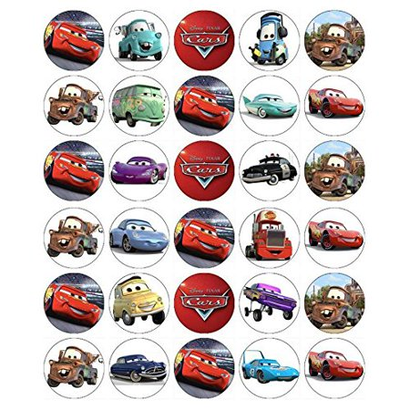 Cars Lightning Mcqueen Cupcake Toppers Edible Paper BUY 2 GET 3RD - Cars Cupcakes
