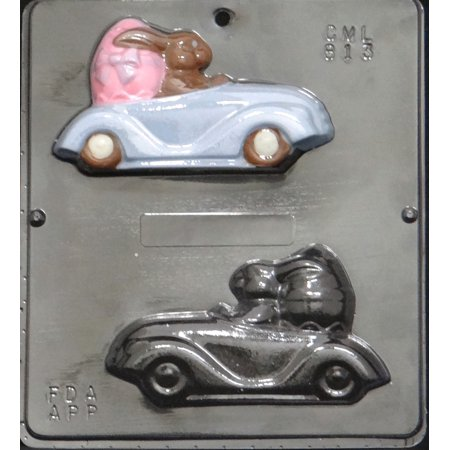 813 Bunny Driving Car Assembly Chocolate Candy Mold