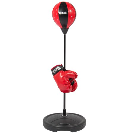 BC Products Kids Boxing Set Childrens Beginning Freestanding Reflex Punching Bag w/ Pair of