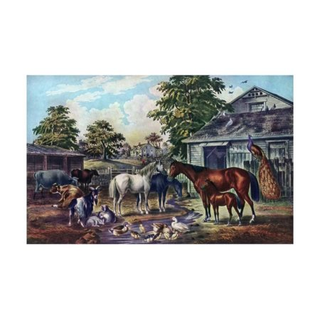 American Farm Yard in the Morning, 1857 Print Wall Art By Currier & Ives
