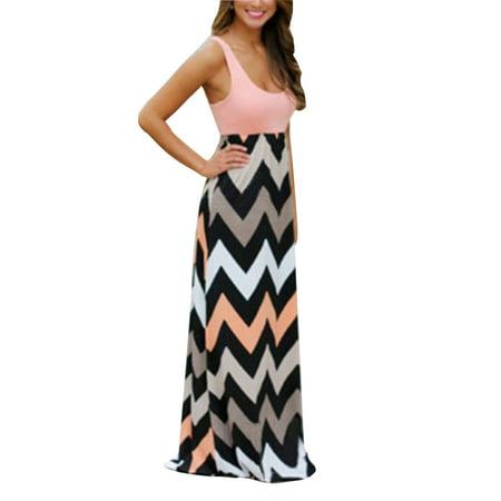 Women Boho Plus Size Summer Casual Evening Party Stripes Sundress Beach  Sleeveless Dress Long Maxi Dress
