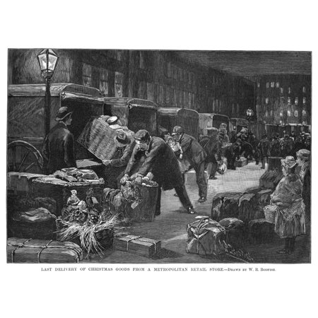 New York Delivery Trucks NLast Delivery Of Christmas Goods From A Metropolitan Retail Store Engraving American 1890 Rolled Canvas Art -  (24 x 36) ()