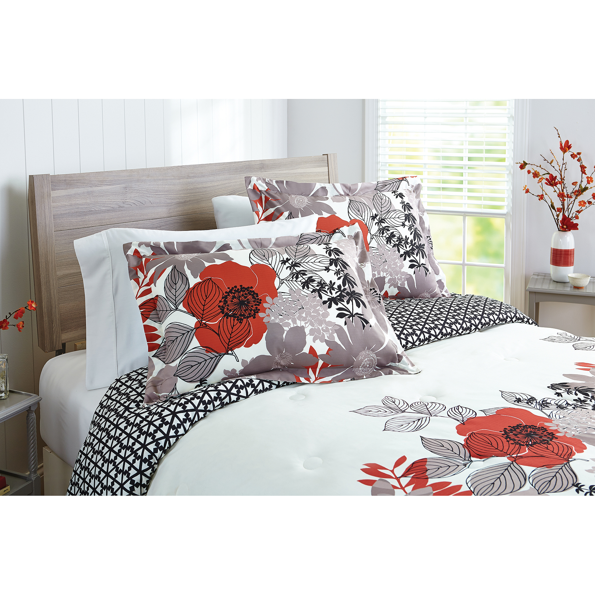 Better Homes and Gardens Floral Silhouette 5-Piece Bedding Comforter Set
