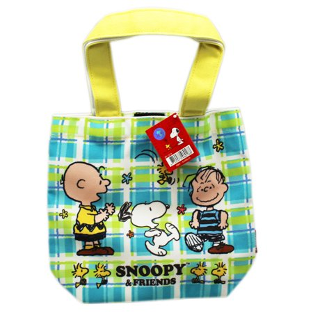 Snoopy and Friends Green/Blue Plaid Canvas Material Small Tote (Friend Pets Tote Bag)