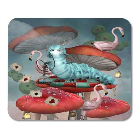 KDAGR Wonderland Series Caterpillar Smokes Hookah on Mushroom in Fairytale Scenery 3D Mousepad Mouse Pad Mouse Mat 9x10 inch](Caterpillar Mushroom Alice-in-wonderland)