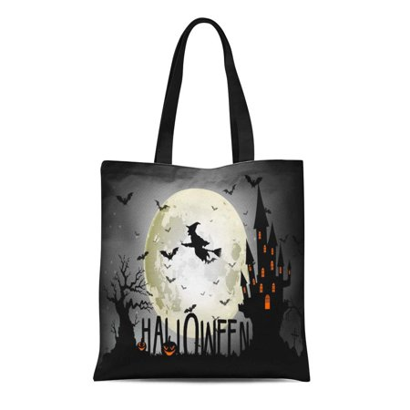 LADDKE Canvas Tote Bag Broomstick Halloween of Witch Full Moon Bats Black Cartoon Durable Reusable Shopping Shoulder Grocery - Halloween Full Moon Cartoon