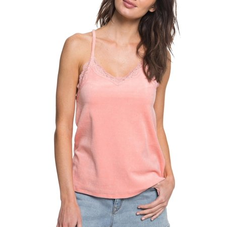 ROXY Womens Pink Lace Trimmed Cami Spaghetti Strap V Neck Top  Size: