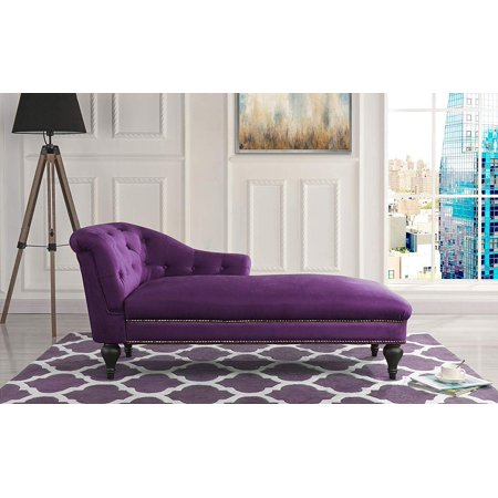 Elegant Velvet Chaise Lounge Living Room Bedroom (Purple)