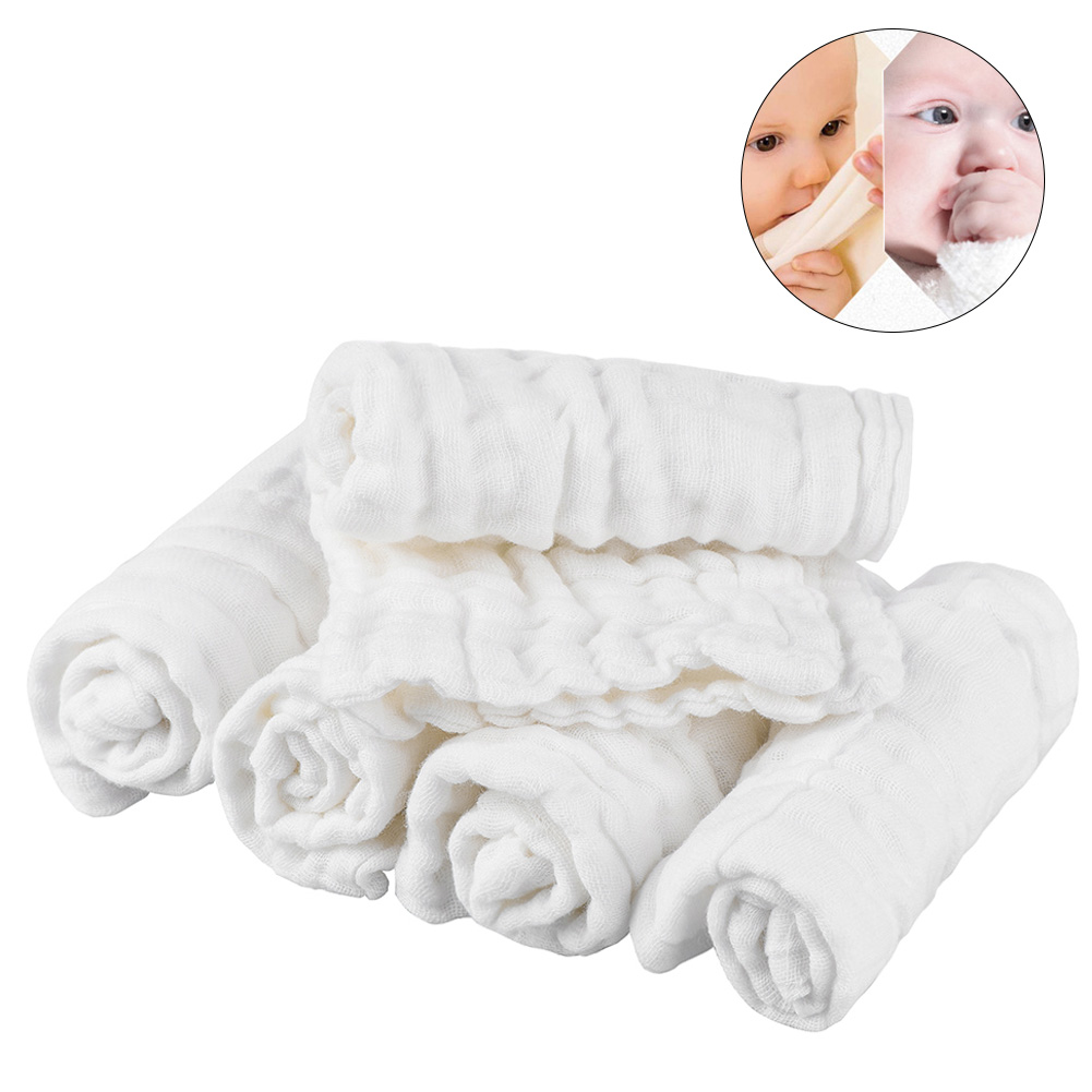 Pretty See Organic Cotton Baby Towels Soft Newborn Baby Face Towel Natural Baby Muslin Washcloths and Towels for Sensitive Skin, White, Set of 5