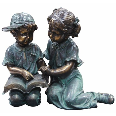 Boys Best Friend Garden Statue (Boy and Girl Reading Together)