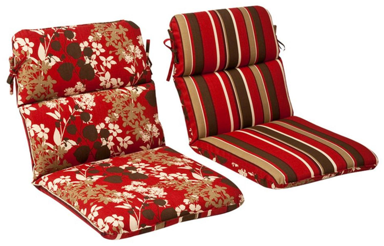 Outdoor Patio Furniture High Back Chair Cushion Reversible Tropical Red Stripe