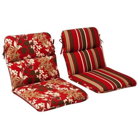 Outdoor Patio Furniture High Back Chair Cushion - Reversible Tropical Red  Stripe - Outdoor Patio Furniture High Back Chair Cushion - Reversible
