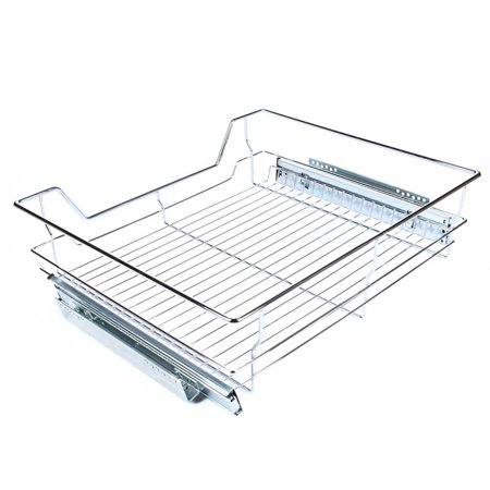 WALFRONT high quality,Under Shelf Storage Basket Kitchen Pantry Pull Out Sliding Metal Basket Drawer Storage Cabinet