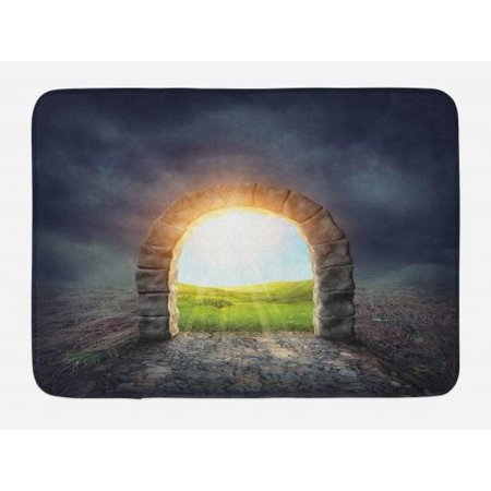 Fantasy Bath Mat, Mysterious Entrance to New Life Theme with Greenland Wildflowers and Sunbeams, Non-Slip Plush Mat Bathroom Kitchen Laundry Room Decor, 29.5 X 17.5 Inches, Green Yellow,