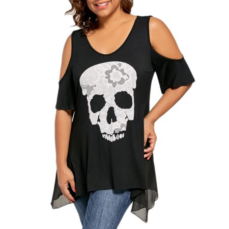 Tuscom Fashion Womens Casual Plus Size Skull Cold Print Shoulder T-shirt Tops Blouse