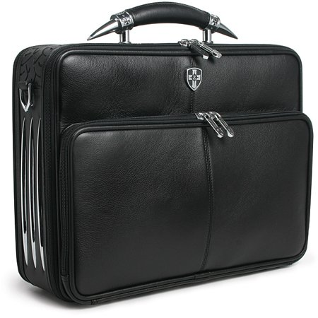 Zeyner  Leather Bullhorn Top-Zip 17-inch Laptop