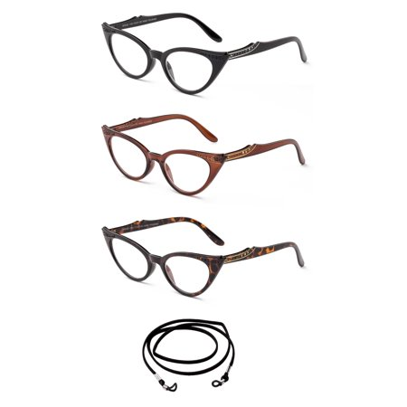 """Image of """"3 Pack Newbee Fashion- """"""""Replic"""""""" Comfortable Cat Eye Design Fashion Reading Glasses with Lanyard +1.00"""""""