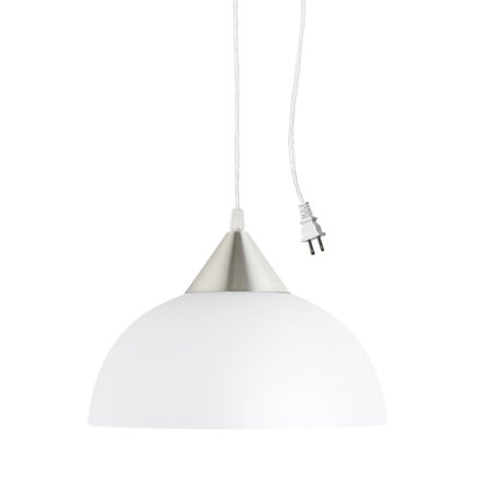 Haverhill Pendant Lighting - Globe Electric Amaris 1-Light White Plug-In Pendant, 64413