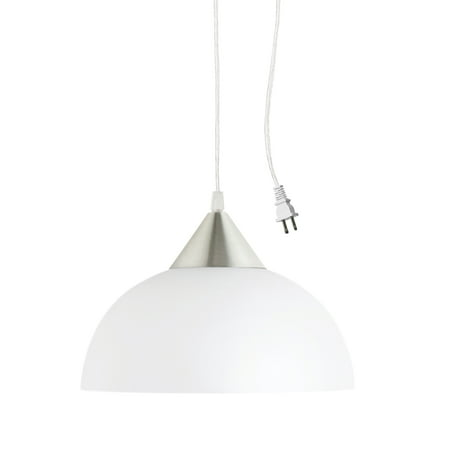 - Globe Electric Amaris 1-Light White Plug-In Pendant, 64413