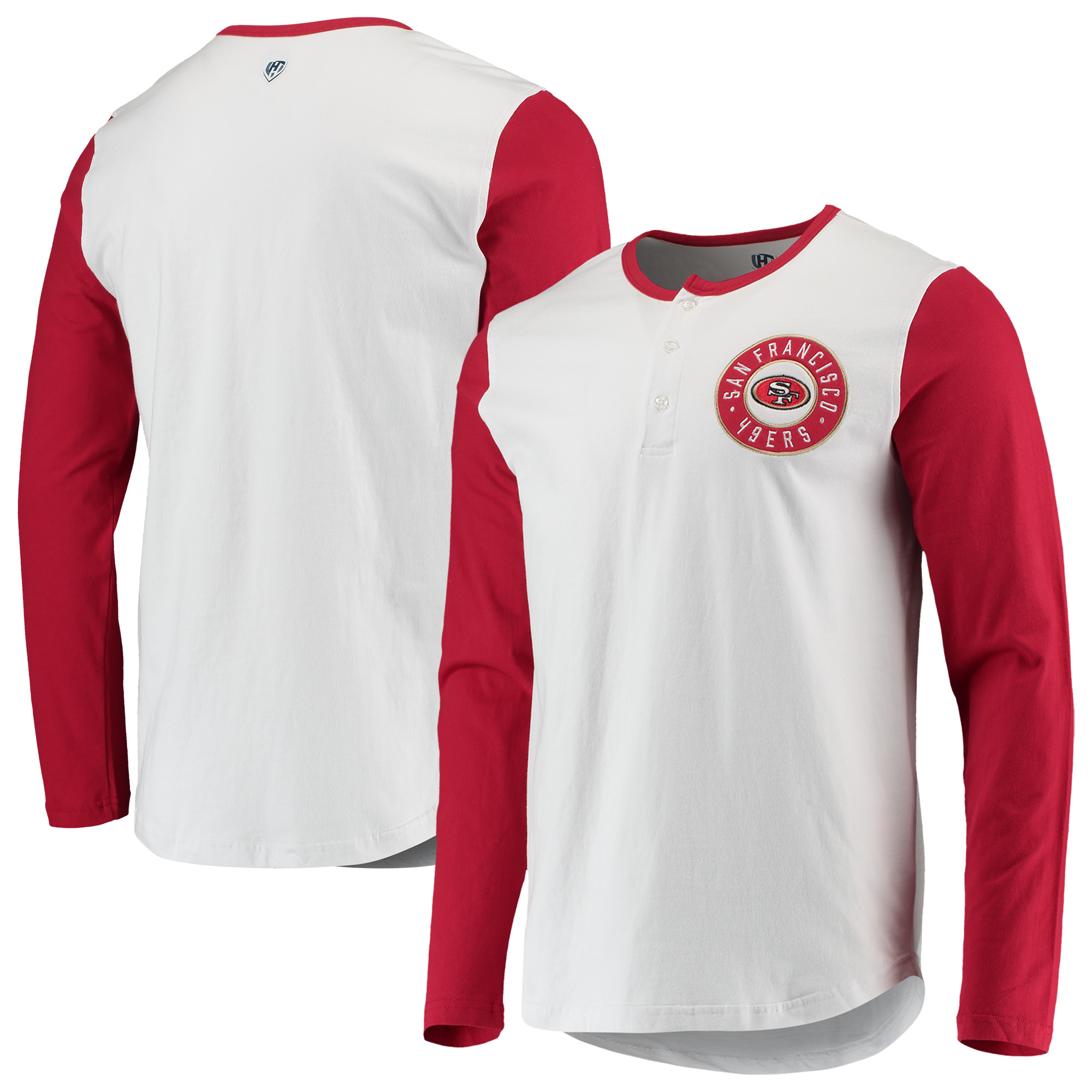 San Francisco 49ers G-III Sports by Carl Banks Tradition Henley Long Sleeve T-Shirt - White/Scarlet