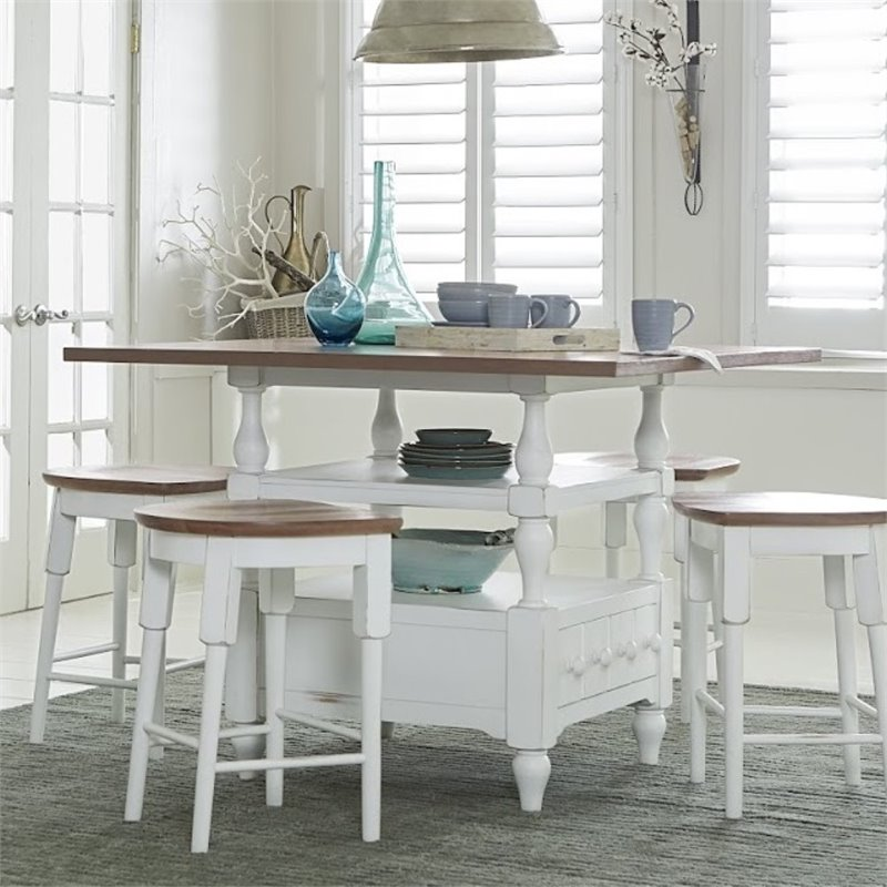 Progressive Shutters Counter Height Dining Table in Oak and White