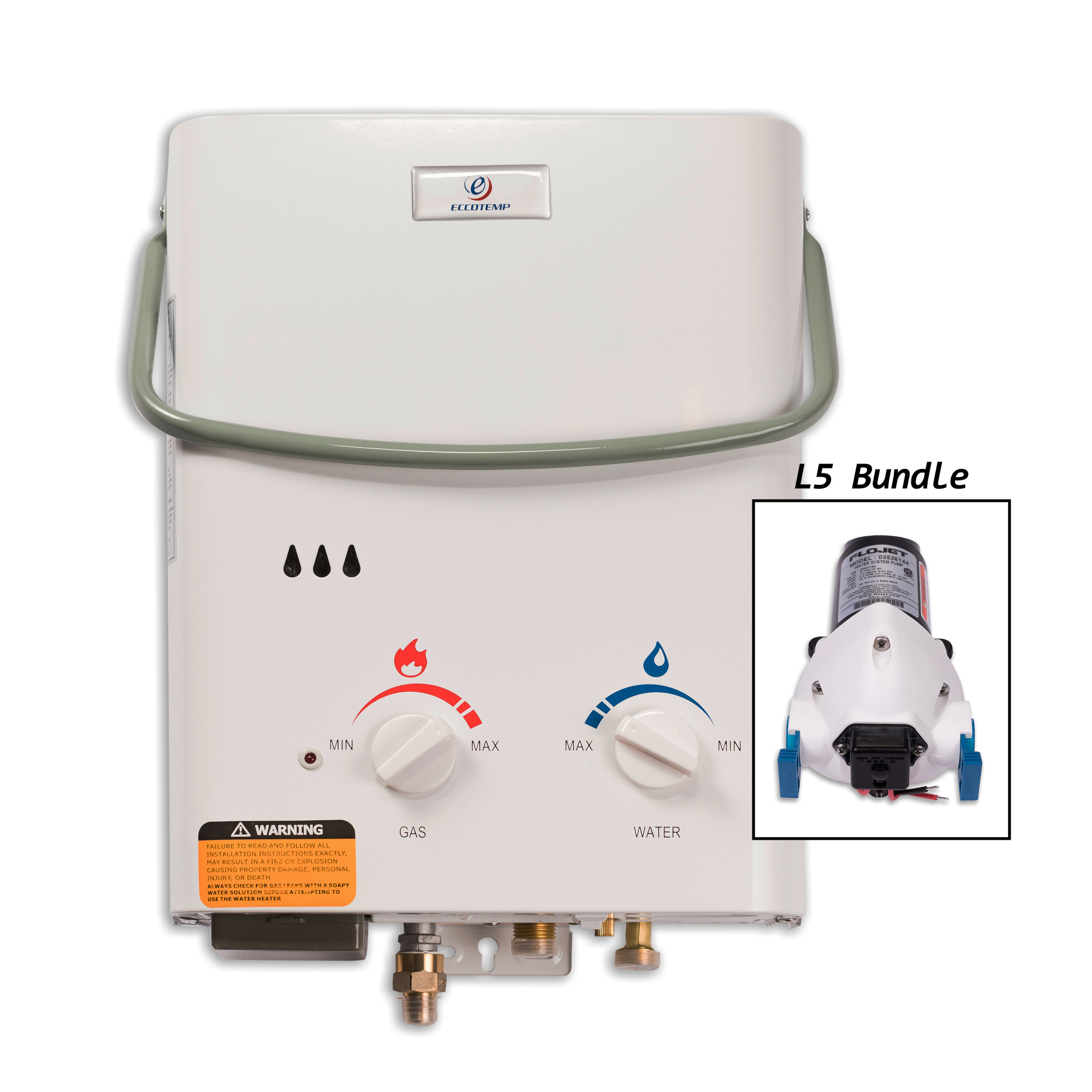 Eccotemp L5-P 1.5 Gallon 11 Kilowatt Portable Liquid Propane Tankless Water Heater with 37,500 Maximum BTU Input and Flojet Pump