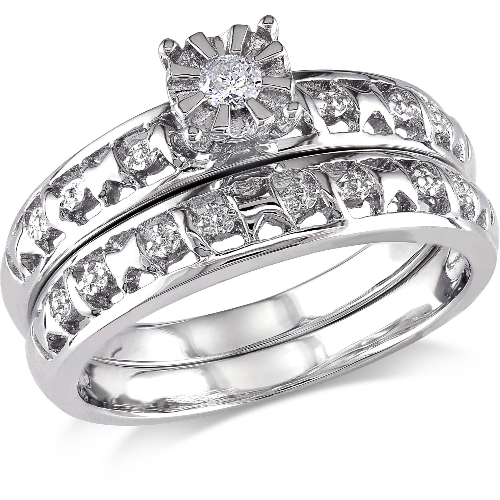 Miabella Round Diamond Accent Bridal Ring Set in Sterling Silver