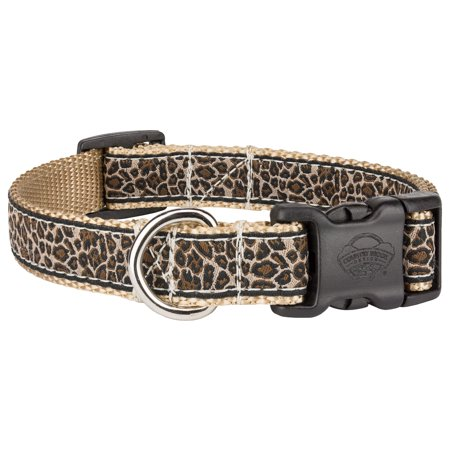 Country Brook Petz™ Deluxe Leopard Print Woven Ribbon Dog Collar Limited Edition Woven Ribbon Collar