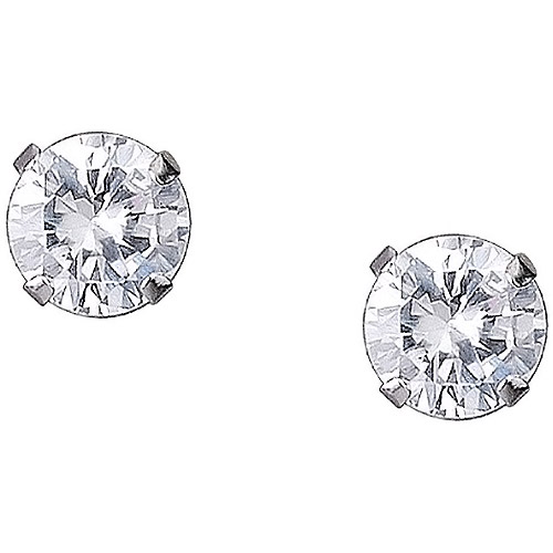 5mm Round CZ 10kt White Gold Stud Earrings