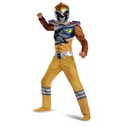 Gold Power Ranger Dino Charge Boys Muscle Costume Halloween Rangers