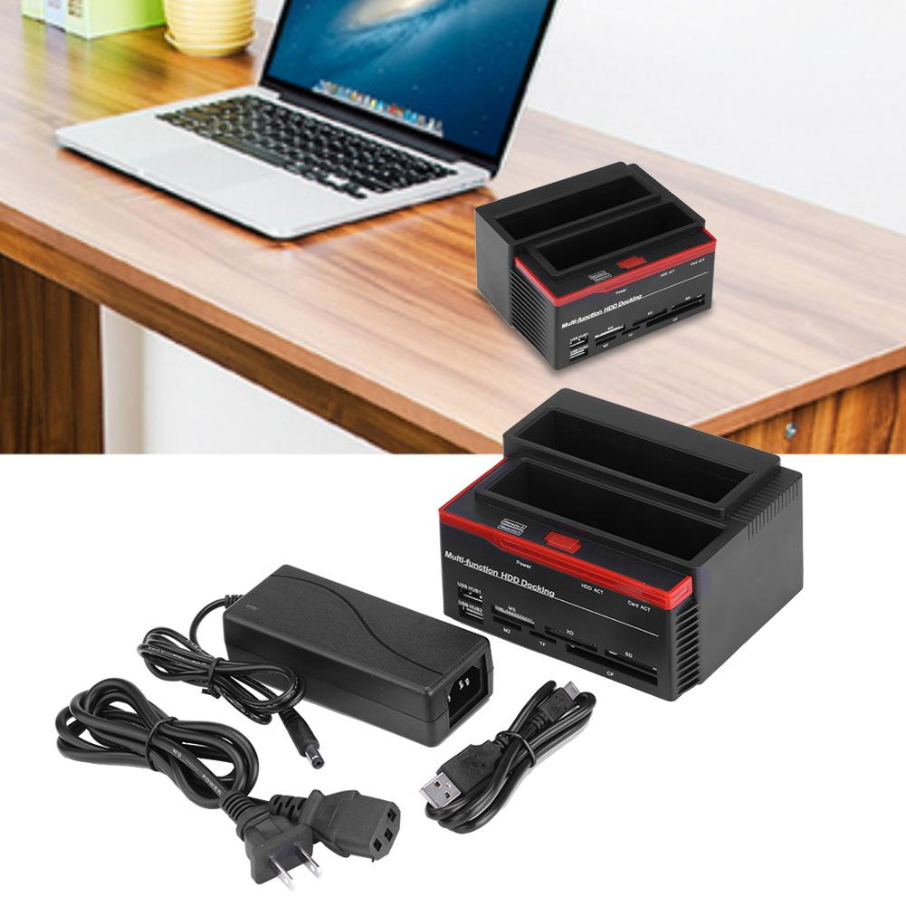 Ejoyous Dual-Bay 2.5 /3.5  SATA & IDE HDD Enclosure Docking Dock Station USB2.0 Hub Card Reader US Plug,HDD Enclosure, SATA Dock