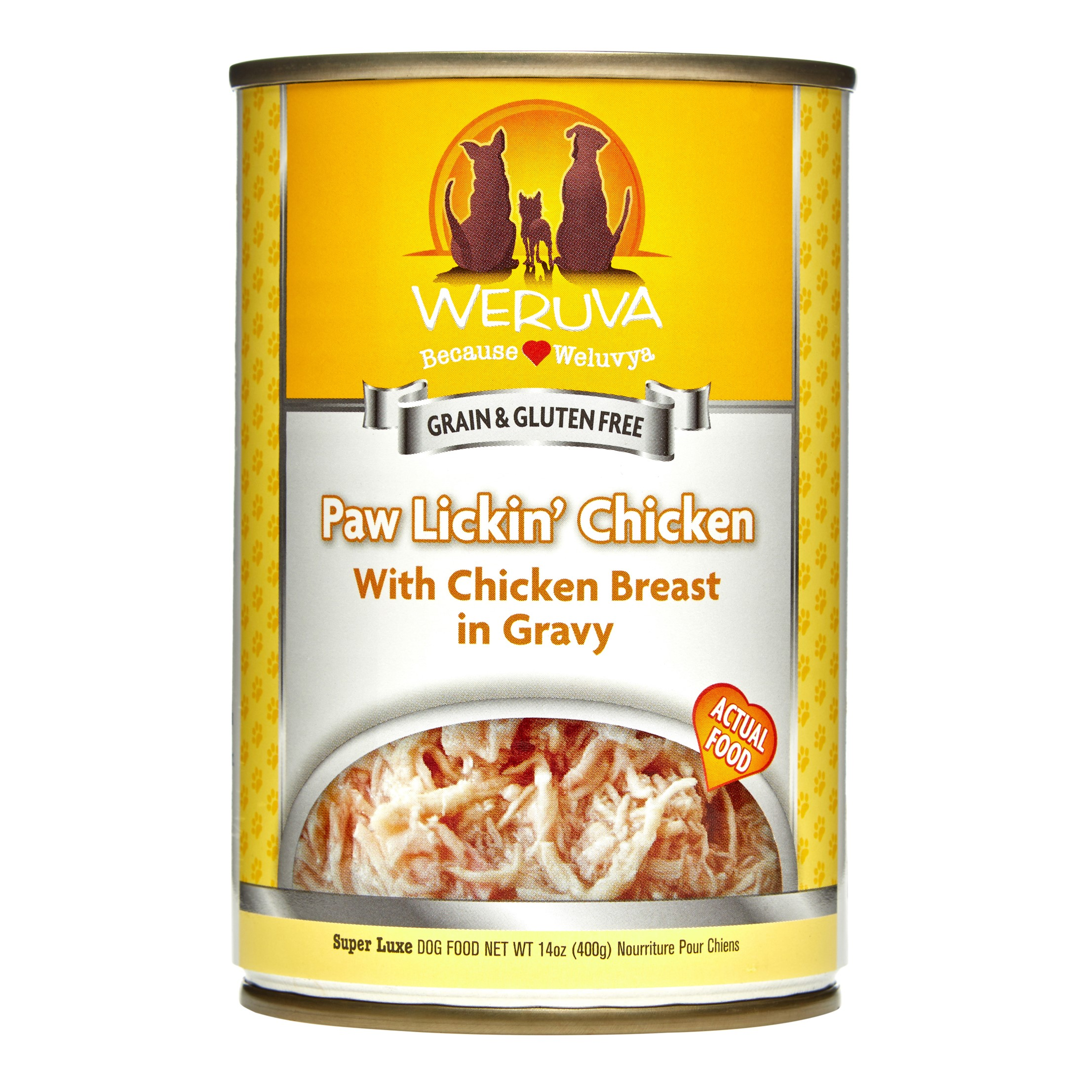 Weruva Human Style Grain-Free Paw Lickin' Chicken Wet Dog Food, 14 Oz