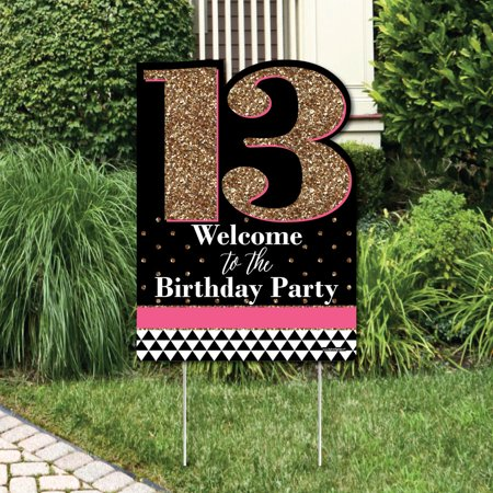 Chic 13th Birthday - Pink, Black and Gold - Party Decorations - Birthday Party Welcome Yard Sign (13th Birthday Party)