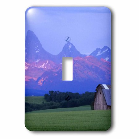 3dRose Rustic barn, wheat field, Teton Mountain Range, Idaho - US13 CHA0079 - Chuck Haney, Single Toggle Switch