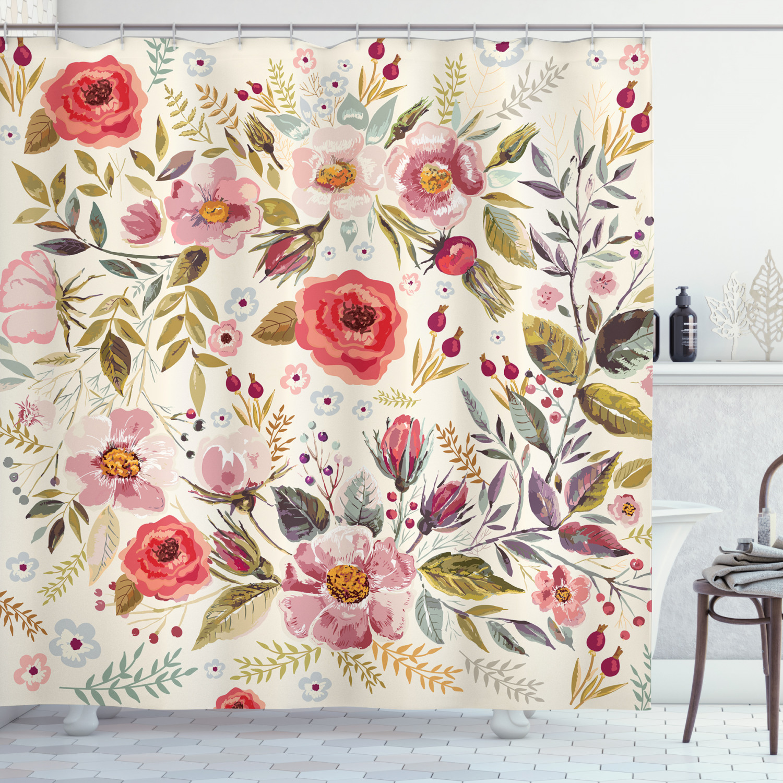 Details about  /Wildflowers Butterflies Floral Decoration Artwork Poppy Print Shower Curtain Set