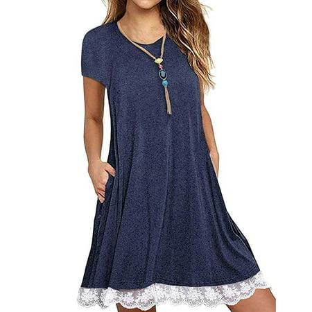 Pocket Dress - Women's Casual 3/4 Sleeve Lace Tunic Dress Summer T-Shirt Dress with Pockets