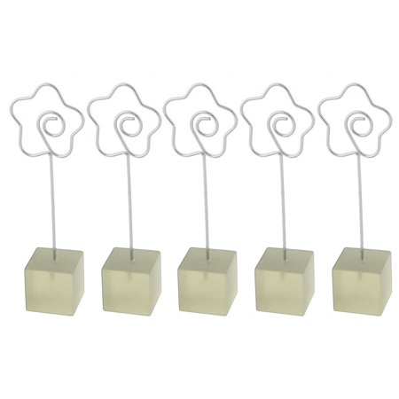 Office Resin Base Flower Clasp Document Photo Holder Stand Memo Clip Clear 5pcs - Inside Document Holder