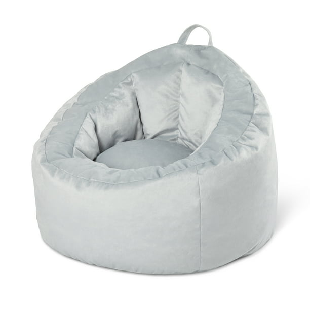 Your Zone Bean Bag Lounge Chair with Pocket, Gray