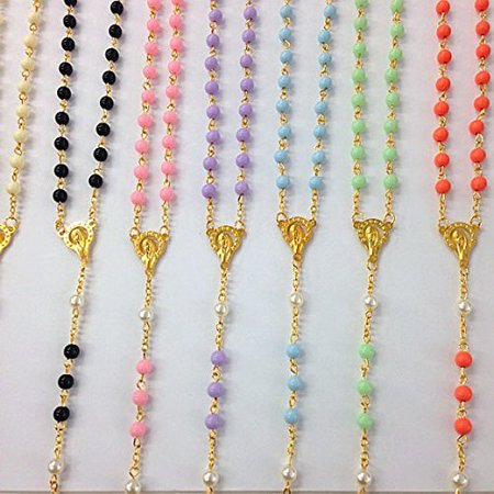 12 X Bulk Super Chic Mixed Color Rosary Gold Necklace with Word Italy Cross for Baptism , First Communion/ Religious Favor Free Gift Bag 19