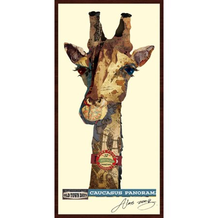 (Empire Art Direct Giraffe Dimensional Collage Hand Signed by Alex Zeng Framed Graphic Art)