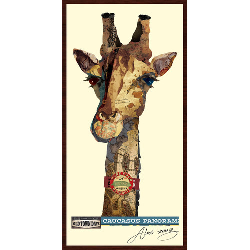 Empire Art Direct Giraffe Dimensional Collage Hand Signed by Alex Zeng Framed Graphic Art