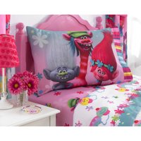 Trolls Sheet Set, Kids Bedding, Gray and Blue, Show Me a Smile, 3-Piece TWIN