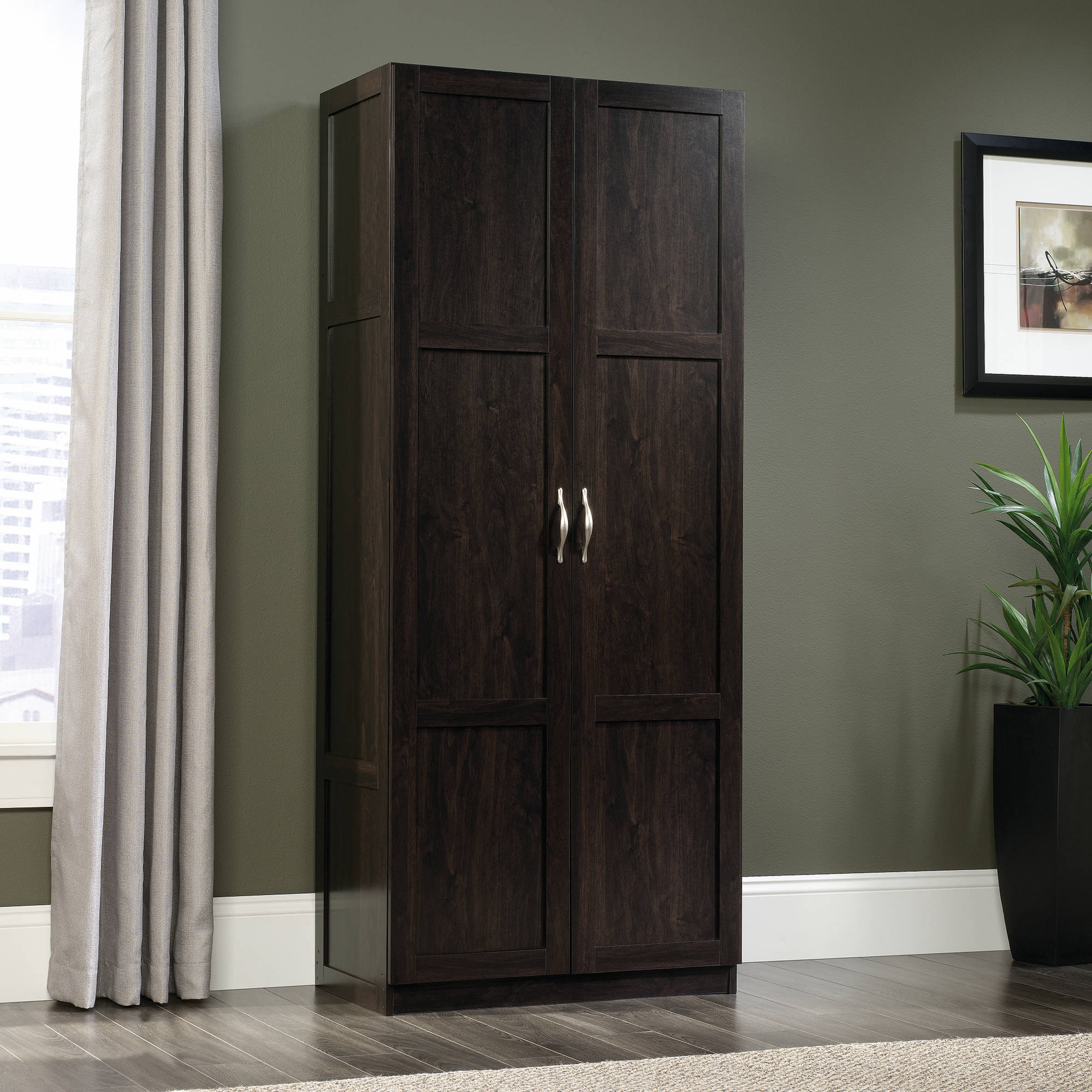 sauder storage cabinet cinnamon cherry finish