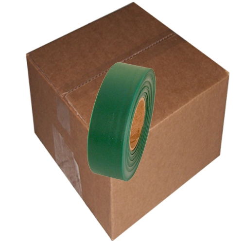 12 Roll Case of Green Flagging Tape 1 3/16 inch x 300 ft Non-Adhesive