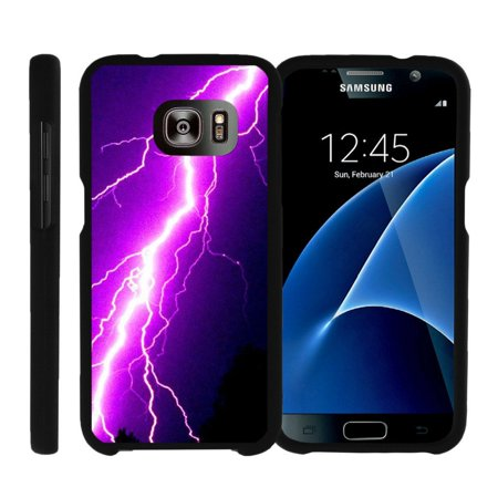 Purple Lightning Bolt (Samsung Galaxy S7 G930, [SNAP SHELL][Matte Black] 2 Piece Snap On Rubberized Hard Plastic Cell Phone Case with Exclusive Art - Purple Lightning)