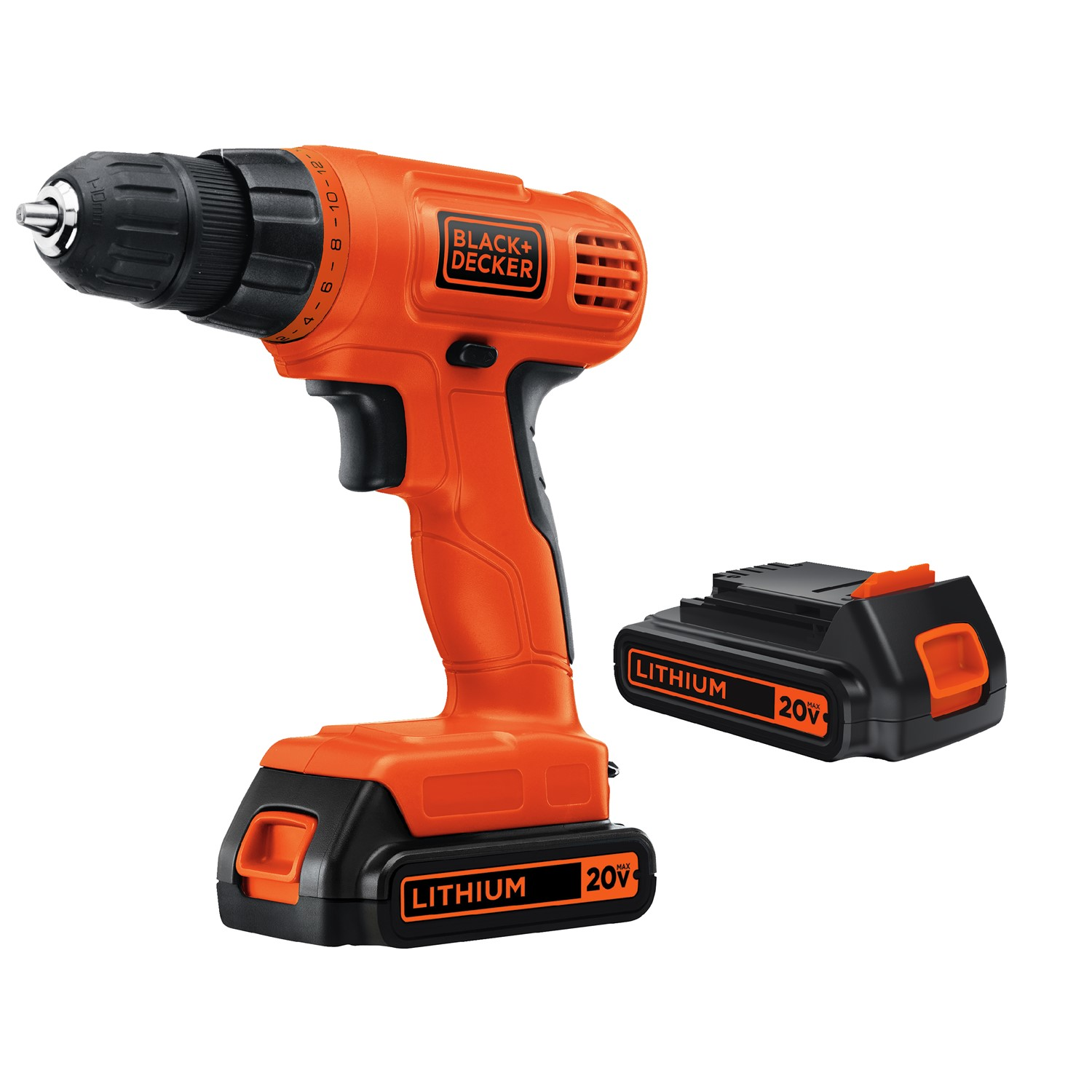 BLACK+DECKER 20-Volt MAX Lithium Ion Cordless Drill with 2 Batteries