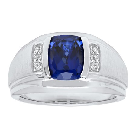 Men S Sterling Silver Created Blue And White Sapphire Ring