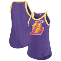 Los Angeles Lakers New Era Women's Raw Edge Striped Trim Tri-Blend Jersey Tank Top - Purple